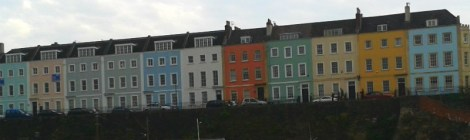 A view of those pretty houses, you know, painted all different colours like they do in Bristol, across the water