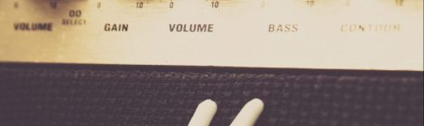 Close-up of volume and gain dials on a Marshall amplifier