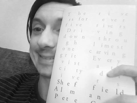 Pete holding a copy of Sheffield Almanac