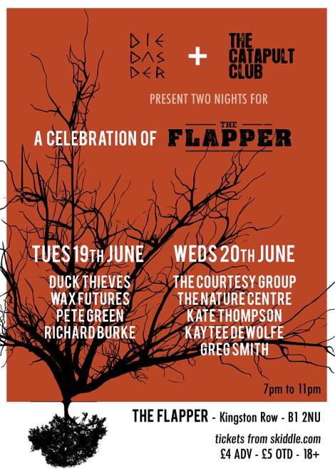 Flyer for two nights of farewell gigs at the Flapper, including me, on 19 June 2018